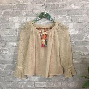 Zara beachy tassel front blouse